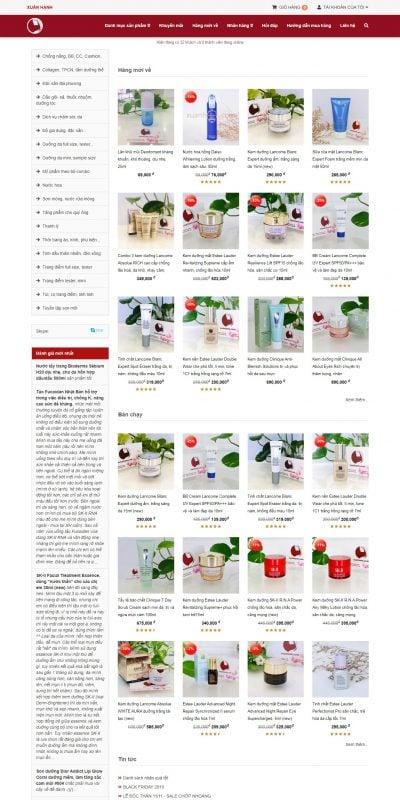 Mẫu thiết kế website bán hàng www.xuanhanh.vn-Mỹ phẩm Xuân Hạnh
