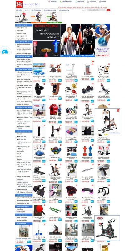 Mẫu thiết kế website bán hàng 247sport.vn-247Sport.vn – Website bán hàng thể thao hàng đầu Việt Nam