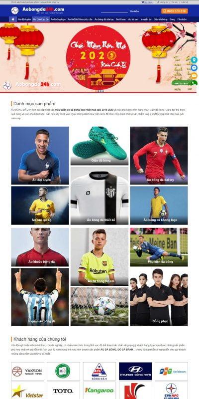 Mẫu thiết kế website bán hàng aobongda24h.com-ÁO BÓNG ĐÁ 24H – Hệ thống cung cấp áo bóng đá số 1 Hà Nội