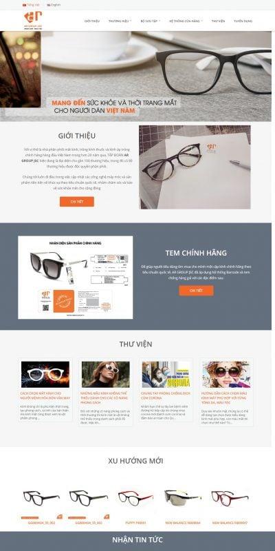 Mẫu thiết kế website bán hàng argroup.com.vn-Công ty Cổ Phần Tập Đoàn Mắt Kính Ánh Rạng – AR GROUP JSC.