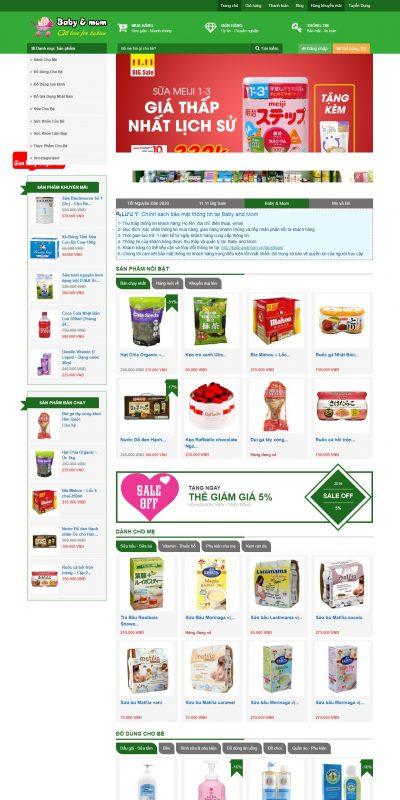 Mẫu thiết kế website bán hàng babyandmom.vn-Baby and Mom – Shop Mẹ và Bé tốt nhất tại Hà Nội