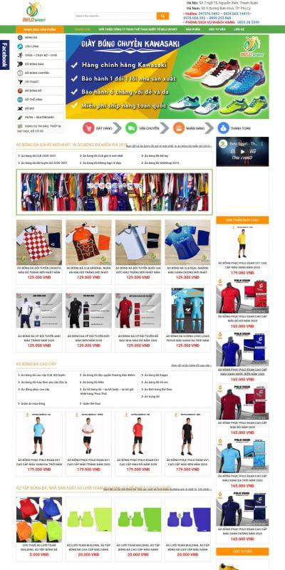 Mẫu thiết kế website bán hàng belo.vn-Đồ thể thao, áo bóng đá, áo bóng chuyền, áo cầu lông, thảm tập yoga đẹp sỉ