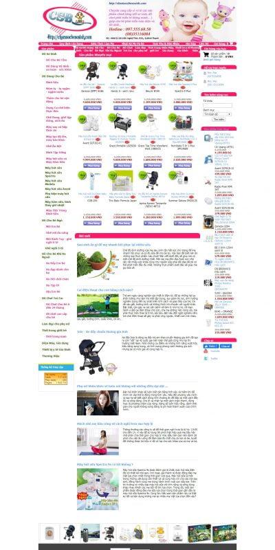 Mẫu thiết kế website bán hàng chamsocbesosinh.com-Chăm sóc bé sơ sinh đúng cách bằng các sản phẩm chính hãng giá tốt_