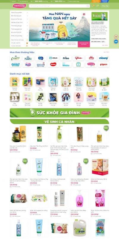 Mẫu thiết kế website bán hàng concung.com-Chuỗi hệ thống siêu thị mẹ bầu và em bé toàn quốc