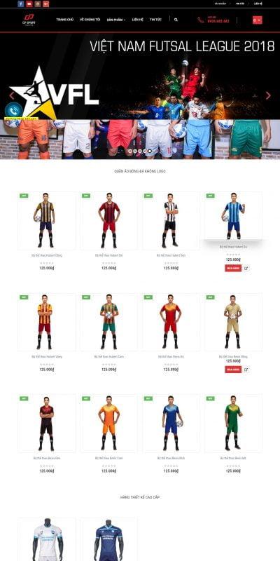 Mẫu thiết kế website bán hàng cp-sport.vn-CP SPORT – Nhà sản xuất quần áo bóng đá hàng đầu Việt Nam