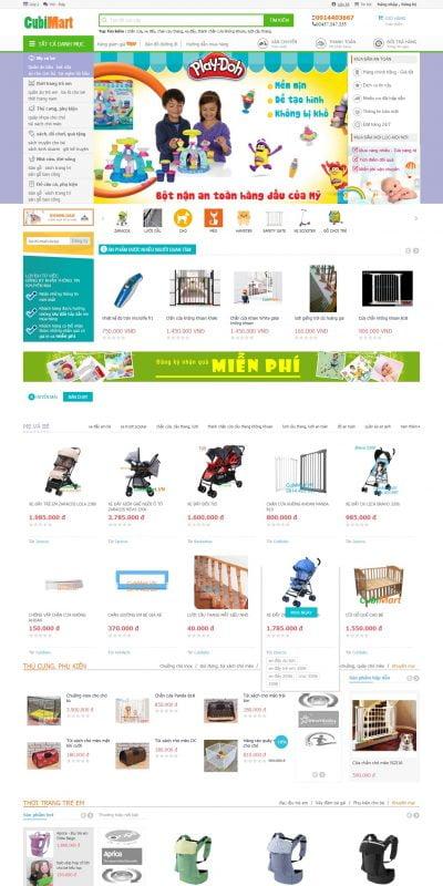 Mẫu thiết kế website bán hàng cubimart.vn-Siêu thị Mẹ và bé CubiMart, sản phẩm tốt giá rẻ hơn, giao hàng tận nơi