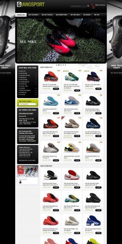 Mẫu thiết kế website bán hàng giangsports.com-GiangSports – Chuyên giày đá banh sân cỏ nhân tạo, giày futsal – Chuyên Giày