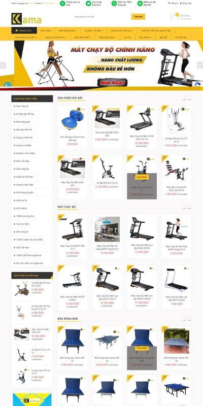 Mẫu thiết kế website bán hàng kama.com.vn-Cửa hàng bán dụng cụ thể thao chuyên nghiệp KAMA Sport