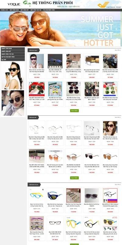 Mẫu thiết kế website bán hàng kinhmatxachtay.com-Kính mắt xách tay