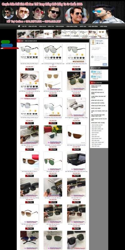 Mẫu thiết kế website bán hàng kinhram.shoponline154.com-Chuyên Bán Kính Nam , Kính Thời Trang Nam Giá Rẻ Uy Tín , Kính Râm Các Loại_
