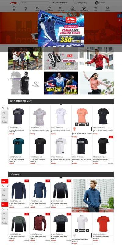 Mẫu thiết kế website bán hàng lining.com.vn-Li-Ning Sport Vietnam