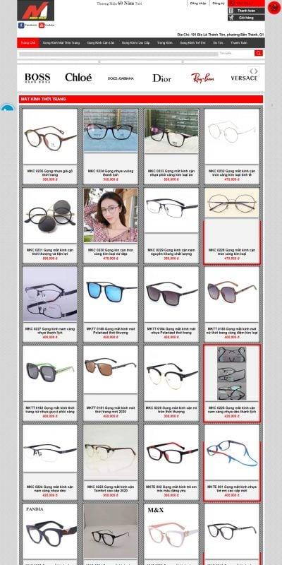 Mẫu thiết kế website bán hàng matkinhminhnhat.vn-Minh Nhật- Vua Shop bán gọng mắt kính cận lão thời trang hàng hiệu cao cấp