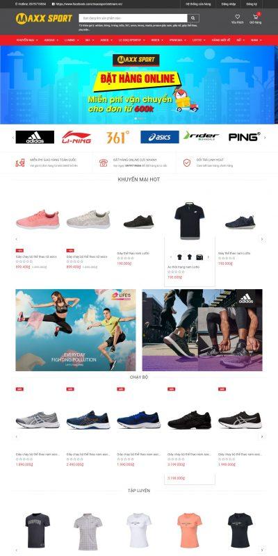 Mẫu thiết kế website bán hàng maxxsport.com.vn-Siêu thị thể thao hàng đầu Việt Nam Siêu thị thể thao MaxxSport