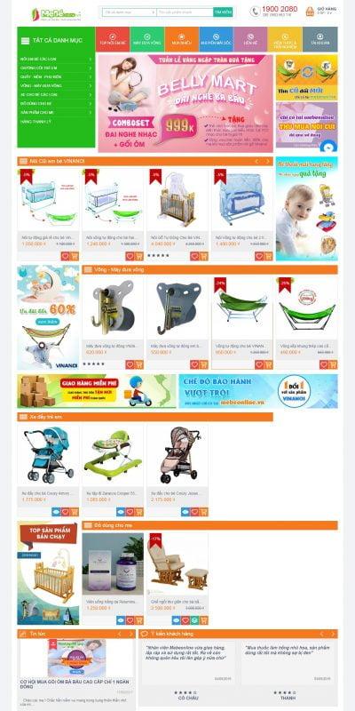 Mẫu thiết kế website bán hàng mebeonline.vn-Nôi em bé, Nôi điện, Máy đưa võng Vinanoi -Mebeonline.vn