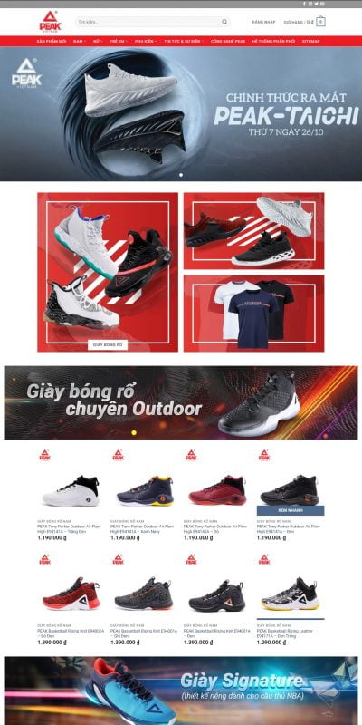 Mẫu thiết kế website bán hàng peaksport.vn-Giày Bóng Rổ Peak – Giày Peak Chính Hãng – Peak Sport Vietnam