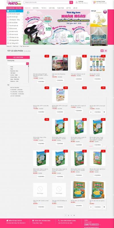 Mẫu thiết kế website bán hàng shopmevabe.vn-Shop Mẹ và Bé – Hato Baby