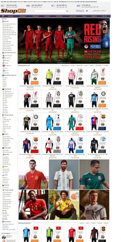 Mẫu thiết kế website bán hàng shopoli.vn-Shop thể thao Oli chuyên đồ quần áo bóng đá, giày đá banh, bóng rổ, gym body