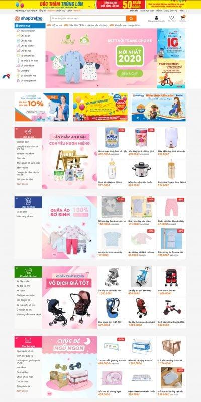 Mẫu thiết kế website bán hàng shoptretho.com.vn-Shop Trẻ Thơ – Hệ thống cửa hàng Shop Mẹ và Bé Online