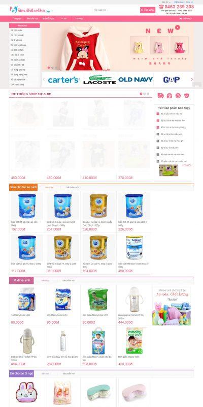 Mẫu thiết kế website bán hàng sieuthitretho.vn-Hệ thống shop Mẹ và Bé Online hàng đầu – Sieuthitretho.vn