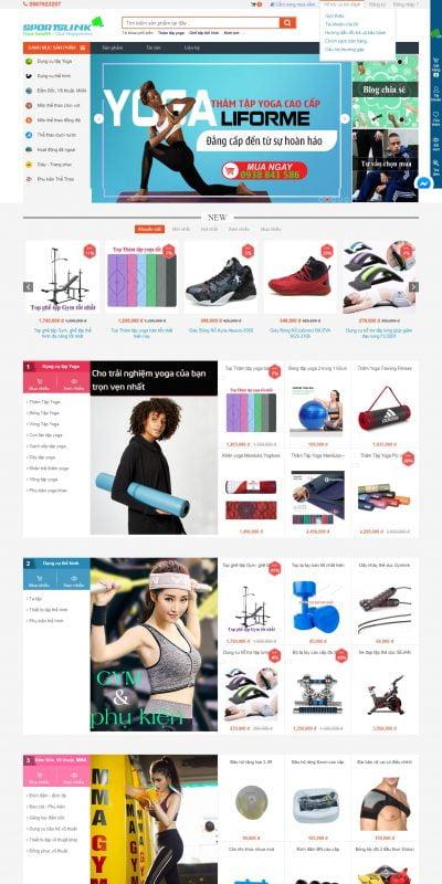 Mẫu thiết kế website bán hàng sportslink.vn