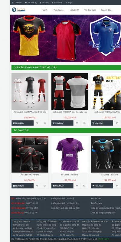 Mẫu thiết kế website bán hàng thegioisport.com-Công ty TNHH May Mặc Thế Giới Thể Thao