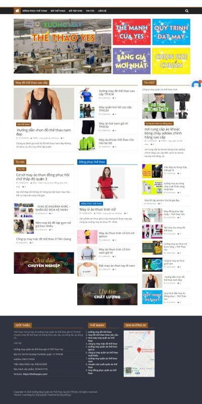 Mẫu thiết kế website bán hàng thethaoyes.com-Xưởng may quần áo thể thao giá rẻ TPHCM – Thể Thao Yes