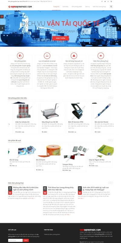 Mẫu thiết kế website bán hàng vanhanhphuc.com-Công ty văn phòng phẩm Vạn Hạnh Phúc Quận 10