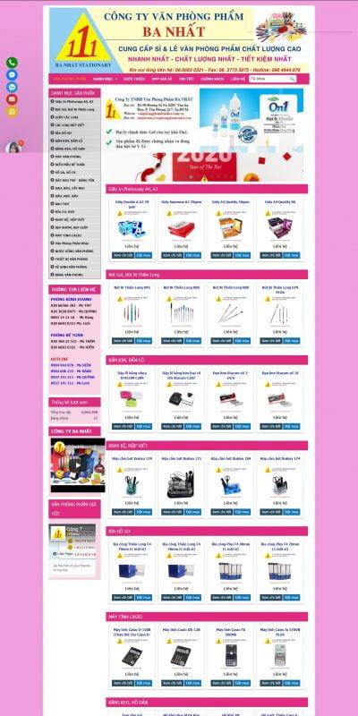 Mẫu thiết kế website bán hàng vanphongphambanhat.com-Văn phòng phẩm Ba Nhất – Văn phòng phẩm giá rẻ TPHCM