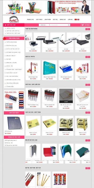 Mẫu thiết kế website bán hàng vanphongphammc.com-Minh Chánh chuyên cung cấp các loại văn phòng phẩm