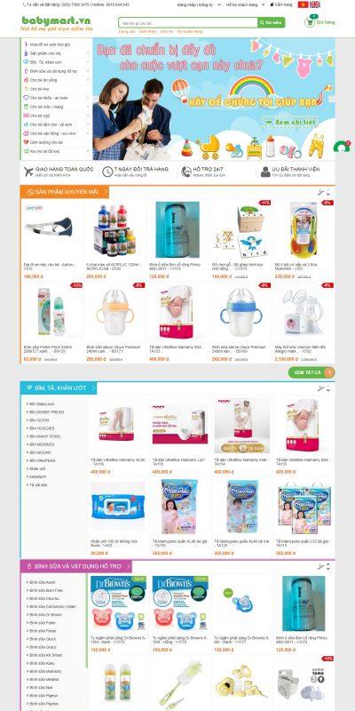 Mẫu thiết kế website bán hàng www.babymart.vn-Đồ dùng cho mẹ và bé – Đồ sơ sinh – Đồ chơi trẻ em – Máy hút sữa
