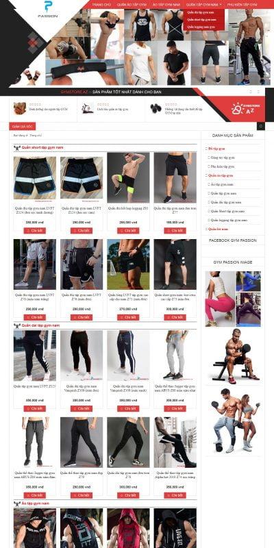 Mẫu thiết kế website bán hàng www.gymstoreaz.com-Gym Passion – Chuyên cung cấp Quần áo tập gym – Đồ thể thao
