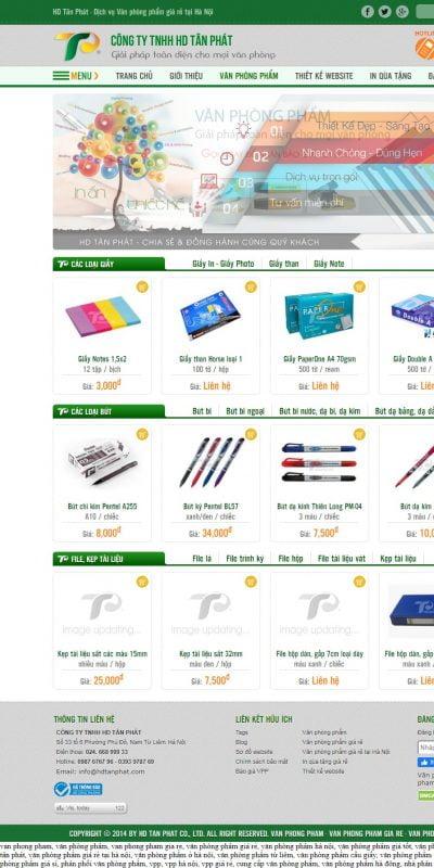 Mẫu thiết kế website bán hàng www.hdtanphat.com-Văn phòng phẩm giá rẻ tại Hà Nội – van phong pham gia re