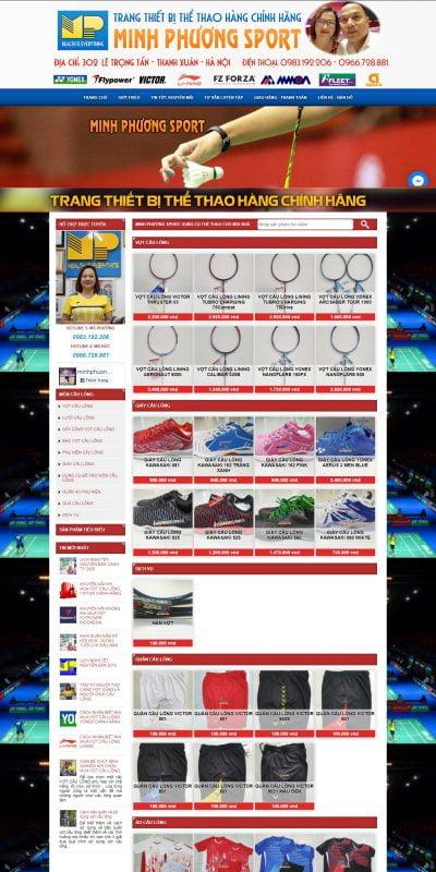 Mẫu thiết kế website bán hàng www.minhphuongsport.com-Minh Phương Sport chuyên vợt cầu lông Yonex chính hãng, vợt cầu lông Victor