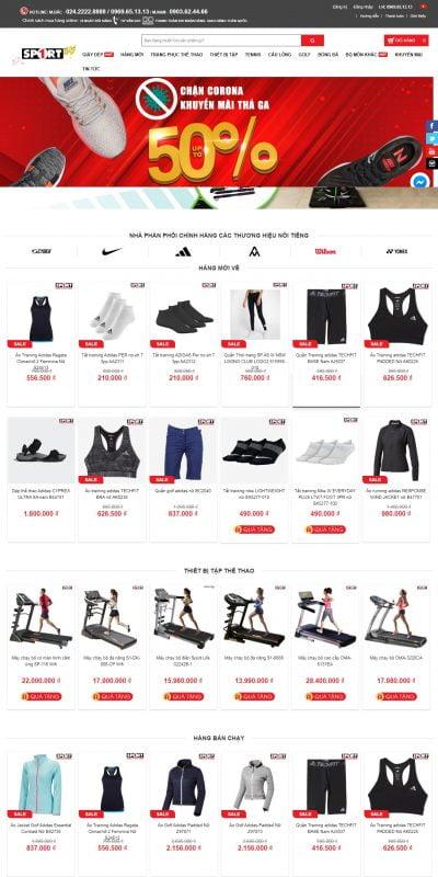 Mẫu thiết kế website bán hàng www.sport1.vn-Siêu thị thể thao SPORT1
