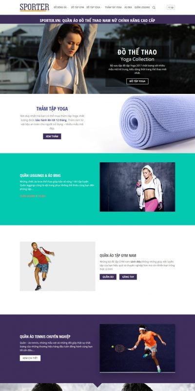 Mẫu thiết kế website bán hàng www.sporter.vn-Sporter.vn_ Quần áo Đồ thể thao Nam Nữ cao cấp chính hãng giá ưu đãi