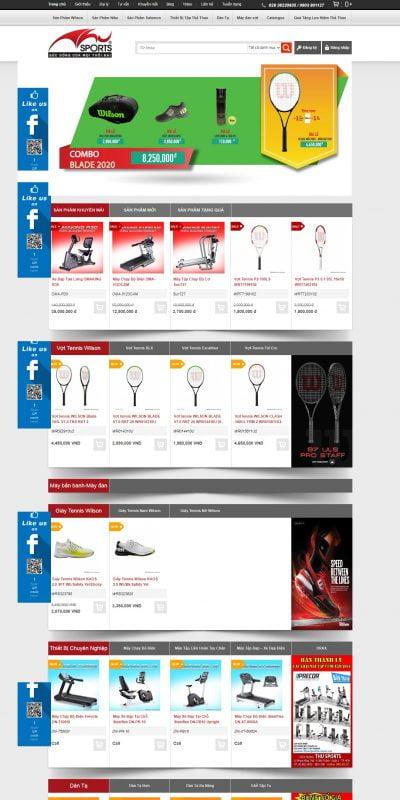 Mẫu thiết kế website bán hàng www.thusports.com.vn-ThuSports – Nhà phân phối vợt tennis wilson,giày tennis, giày chạy bộ, máy c_