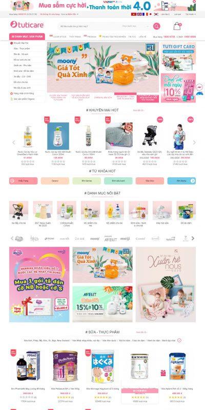 Mẫu thiết kế website bán hàng www.tuticare.com-TutiCare – Hệ thống cửa hàng mẹ và bé uy tín hàng đầu Việt Nam – Leading Bab_