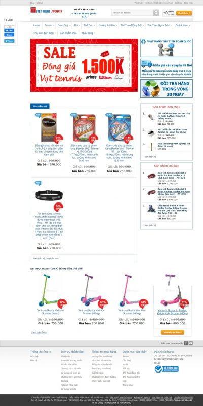 Mẫu thiết kế website bán hàng www.tuyetnhungsports.com.vn-Trang chủ Tuyetnhung Sports