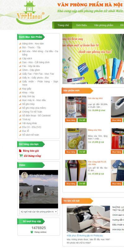 Mẫu thiết kế website bán hàng www.vanphongphamhn.com-Văn phòng phẩm Hà Nội, Văn phòng phẩm, sổ, giấy in, bút bi