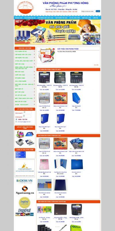 Mẫu thiết kế website bán hàng www.vanphongphamphuonghong.com-Chuyên cung cấp các sản phẩm văn phòng phẩm và thiết bị dụng cụ
