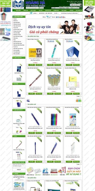 Mẫu thiết kế website bán hàng www.vpphoangha.vn-Công Ty TNHH Văn Phòng Phẩm Hoàng Hà ở tại TP.HCM