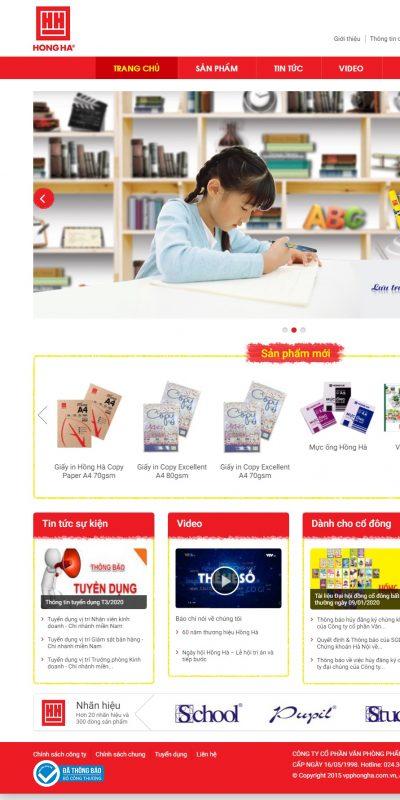 Mẫu thiết kế website bán hàng www.vpphongha.com.vn-Văn phòng phẩm Hồng Hà