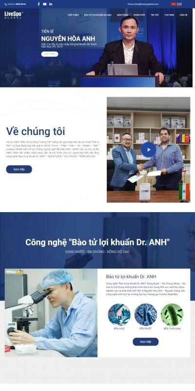 Mẫu thiết kế website tin tức – LiveSpo Global – Độc quyền Công nghệ Bào tử lợi khuẩn Dr.ANH – livespoglobal.com