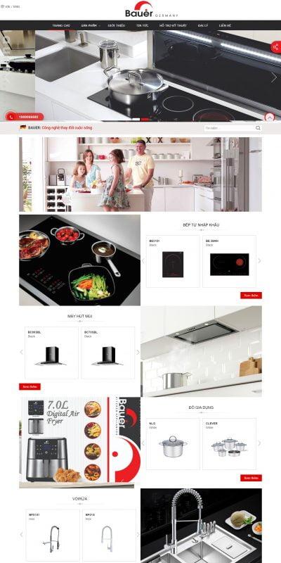 Mẫu thiết kế website bán hàng Bauer Vietnam – Thương hiệu thiết bị nhà bếp cao cấp – bauer.com.vn