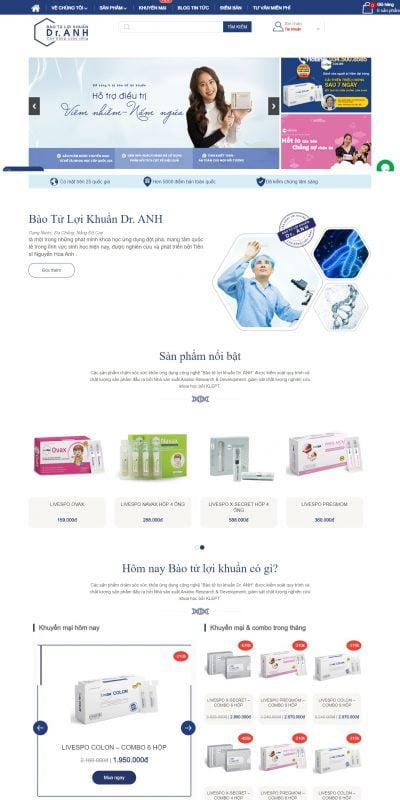 Thiết kế website bán hàng – DrAnh.com.vn – Bào tử lợi khuẩn