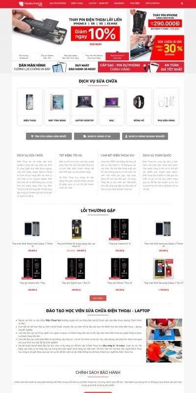 Thiết kế website bán hàng tương tự dienthoaivui.com.vn giống 95% – hệ thống sửa chữa điện thoại